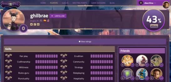 Vista detalle del perfil de otro Player en donde se ve destacado el Affinity personal y el Affinity con sus Friends de mayor nivel.