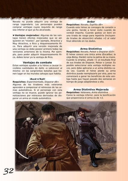 Ejemplo de maquetación (en desarrollo) Fuente: http://htpublishers.es/projects/savage-worlds-basico/
